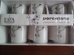 """Conjunto: 6 chávenas de café com pires """"Vista Alegre"""""""