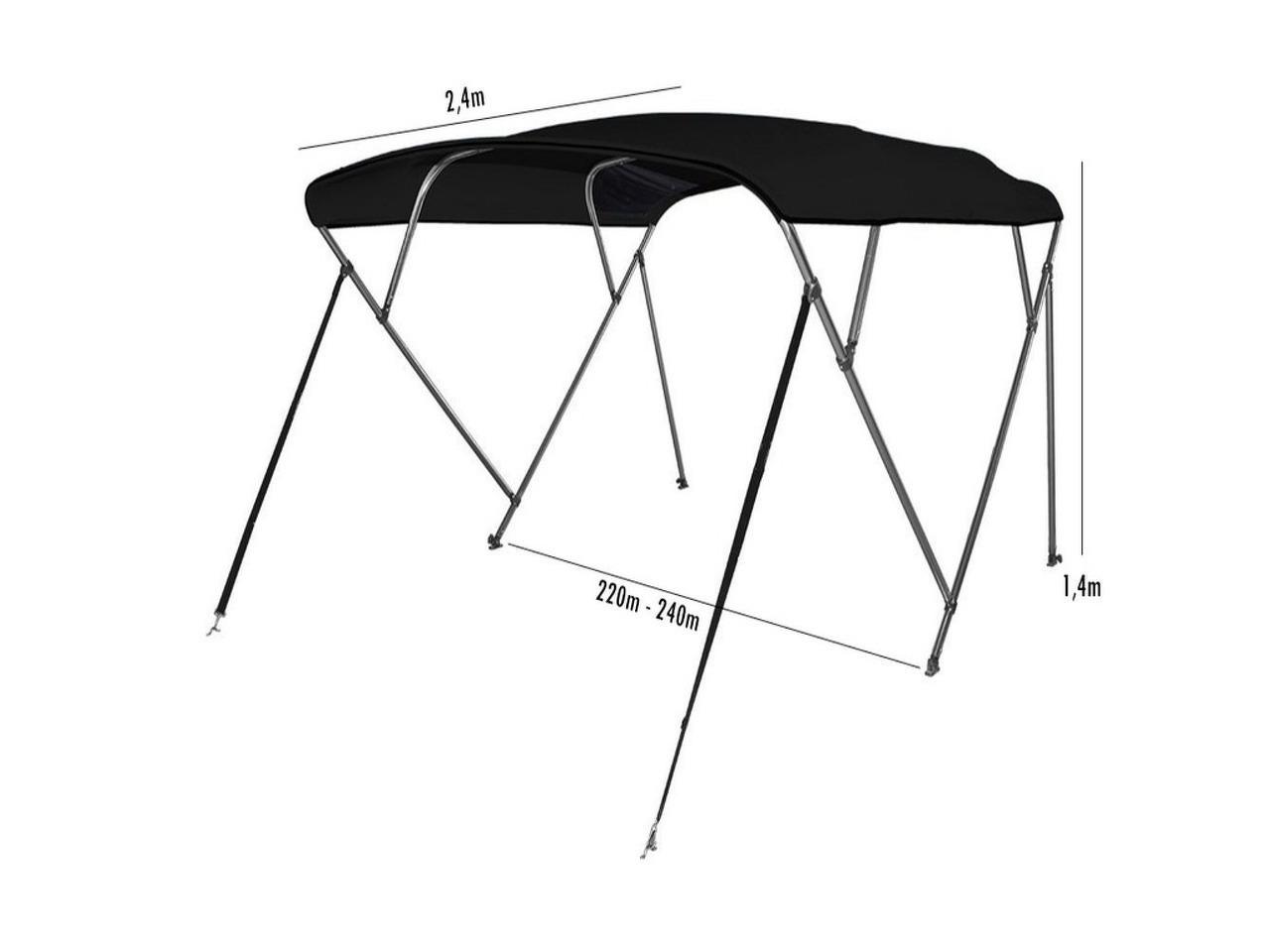 Toldo Bimini 4 arcos cor Preto largura 2,20m-2,40m - 1/5