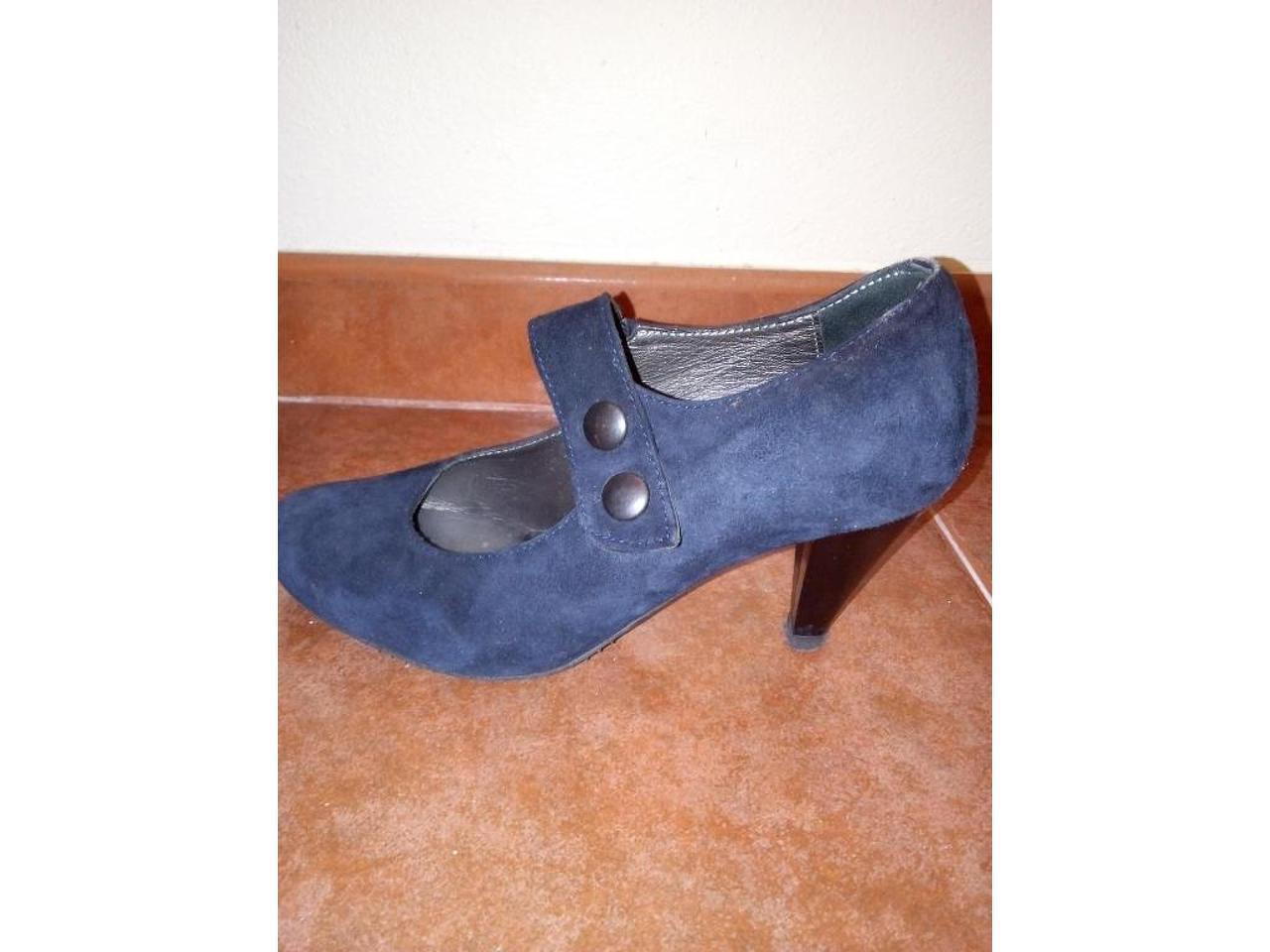Sapatos de camurça azul escuro, nº39 - 3/5