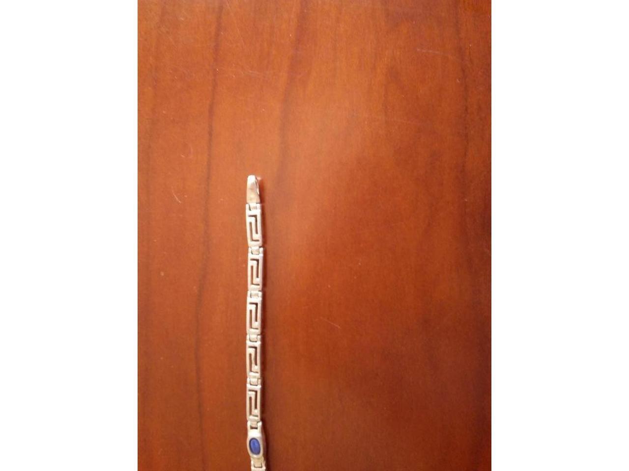 Pulseira e anel ajustável, em prata de lei. Unisexo. - 3/8