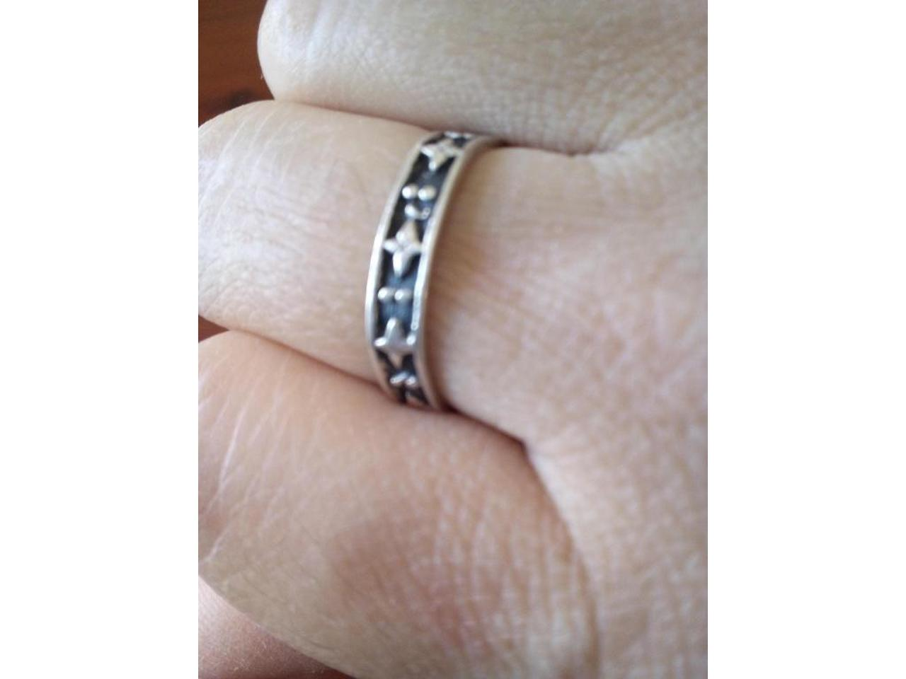 Pulseira e anel ajustável, em prata de lei. Unisexo. - 6/8