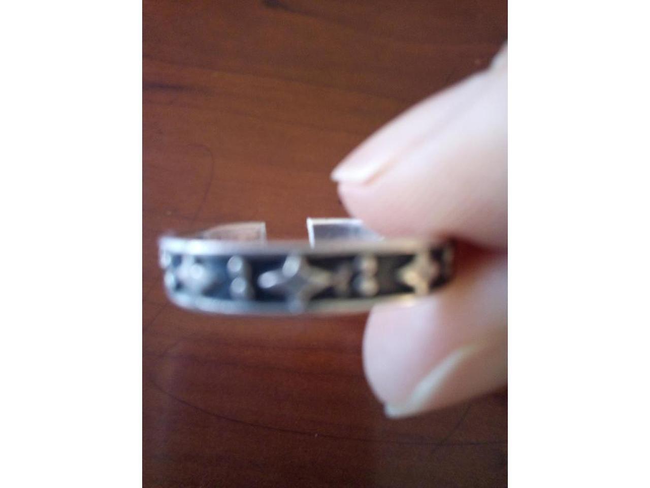 Pulseira e anel ajustável, em prata de lei. Unisexo. - 8/8